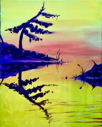 Lone Pine Reflection paint night by paintandcocktails