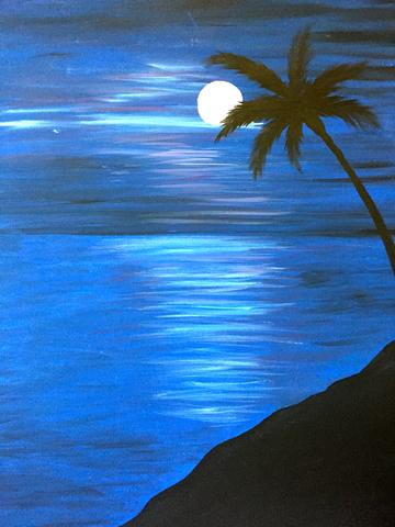 Moonlight Palm paint night by paintandcocktails