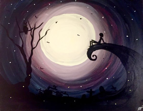 Moonlight Thinker paint night by paint and cocktails