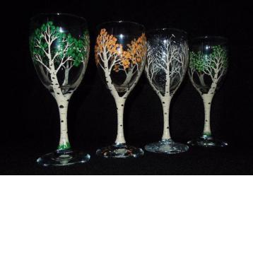 Four Seasons Birch Trees - Wine Glasses